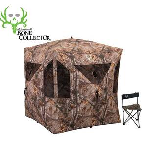 Ameristep Bone Collector Combo HUB Style 3-Person Ground Blind with Chair - Realtree Xtra