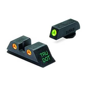 Meprolight Tru-Dot Night Sight Set - Glock 9mm, .357 Sig, 40 S&W, .45 GAP Fixed Set TD Suppressor Height Green/Orange