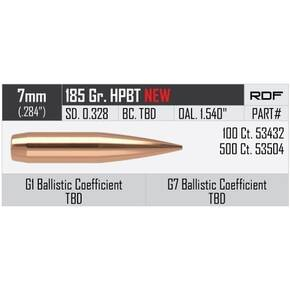 "Nosler RDF Match Bullets 7mm .284"" 185 gr HPBT 500/ct"