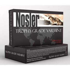 Nosler Trophy Grade Varmint Rifle Ammunition .22 Nosler 55 BT 3350 fps 20/ct