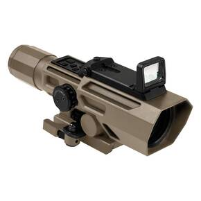 NcStar VSM ADO Dual Optic 3-9x42mm P4 Sniper Rifle Scope with Integrated Fold-Down Red Dot Optic - Tan