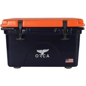 ORCA Cooler 26 QT. - Dark Blue with Orange Lid