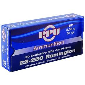 PPU Rifle Ammunition 22-250 Rem 55 gr SP 3680 fps 20/ct