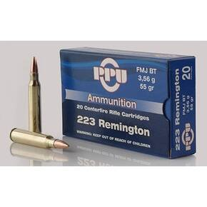 PPU Rifle Ammunition .223 Rem 55 gr FMJ-BT 3240 fps 20/ct