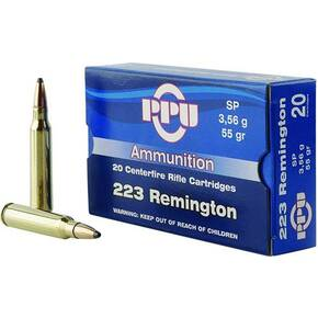 PPU Rifle Ammunition .223 Rem 55 gr SP 3240 fps 20/ct