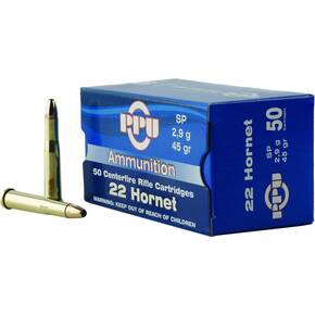 PPU Rifle Ammunition .22 Hornet 45 gr SP 2430 fps 50/ct