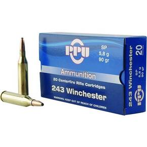PPU Rifle Ammunition .243 Win 90 gr SP 3100 fps  20/ct