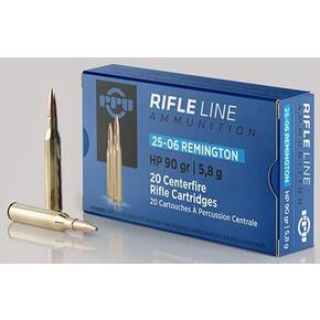 PPU Rifle Ammunition .25-06 Rem 90 gr  HP 3398 fps 20/ct