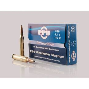 PPU Standard Rifle Ammunition .264 Win Mag PSP 140 gr 3018 fps 20/ct