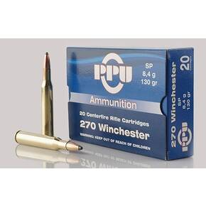 PPU Rifle Ammunition .270 Win 130 gr SP 3060 fps 20/ct