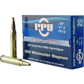 PPU Rifle Ammunition .300 Win Magnum 150 gr SP 3250 fps 20/ct
