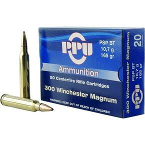 PPU Rifle Ammunition .300 Win Magnum 165 gr SPBT 3050 fps 20/ct