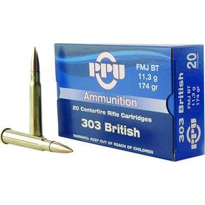 PPU Rifle Ammunition .303 British 174 gr FMJ 2400 fps 20/ct