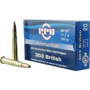 PPU Rifle Ammunition .303 British 180 gr SPBT 2460 fps 20/ct