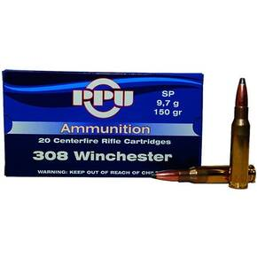 PPU Rifle Ammunition .308 Win 150 gr SP 2820 fps  20/ct