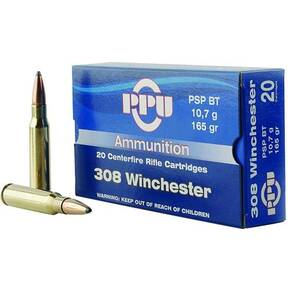 PPU Rifle Ammunition .308 Win 165 gr PSPBT 2675 fps 20/ct