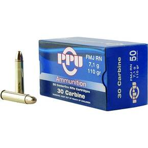 PPU Rifle Ammunition .30 Carbine 110 gr FMJ-RN 1990 fps 50/ct