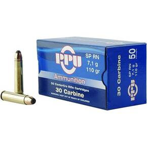 PPU Rifle Ammunition .30 Carbine 110 gr SP 1990 fps 50/ct