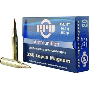 PPU Rifle Ammunition .338 Lapua Magnum 250 gr FMJ 2953 fps 10/ct