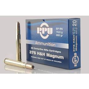 PPU Rifle Ammunition .375 H&H Magnum 300 gr FMJ 2460 fps 20/ct