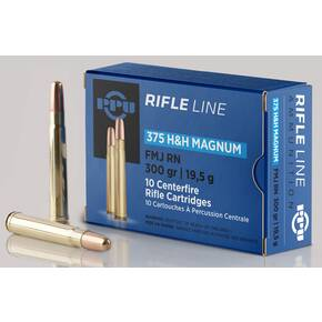 PPU Rifle Ammunition .375 H&H Magnum 300 gr FMJ 2460 fps 10/ct