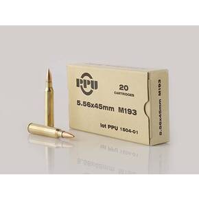 PPU M193 Rifle Ammunition 5.56mm 55 gr FMJ 3240 fps 1000/ct