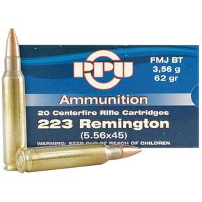 PPU Rifle Ammunition .223 Remington FMJ BT 62gr 20BX