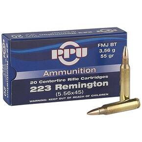 PPU Rifle Ammunition .223 Rem 55 gr FMJ-BT 20/Box