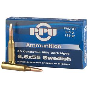 PPU Rifle Ammunition 6.5mm x 55 Swedish 139gr FMJ-BT 20/Box
