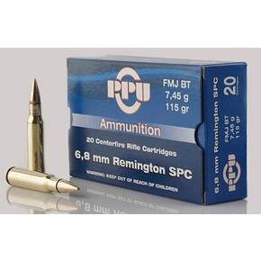 PPU Standard Rifle Ammunition 6.8mm SPC 115 gr FMJBT 2624 fps 20/ct