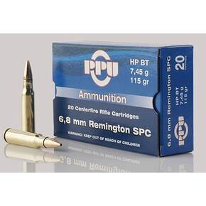 PPU Standard Rifle Ammunition 6.8mm SPC 115 gr HPBT 2624 fps 20/ct