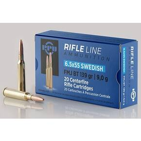PPU Rifle Ammunition 6.5mm x 55 Swedish 139gr FMJ-BT 2540 fps 20/ct