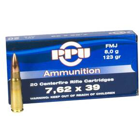 PPU Rifle Ammunition 7.62mm x 39 123 gr FMJ 20/Box