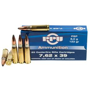 PPU Rifle Ammunition 7.62x39 PSP 123gr 20ct