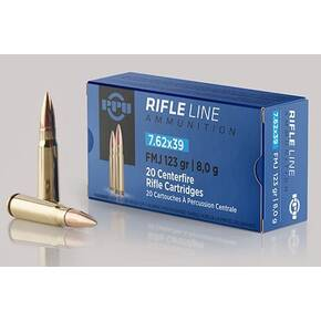 PPU Rifle Ammunition 7.62mm x 39 123 gr FMJ 2350 fps 20/ct