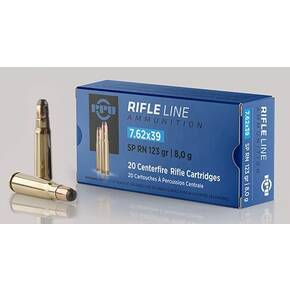 PPU Rifle Ammunition 7.62x39mm 123 gr SPRN 2350 fps - 20/ct