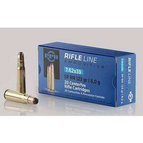 PPU Rifle Ammunition 7.62x39mm 123 gr SP 2350 fps 20/ct