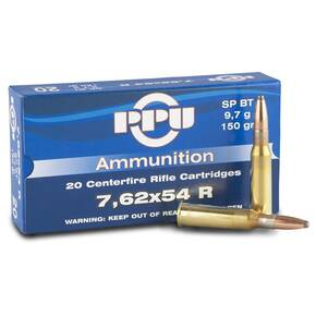 PPU Rifle Ammunition 7.62mmx54R 150 gr SPBT 2840 fps 20/ct