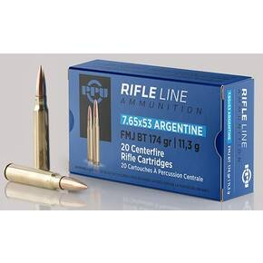 PPU Rifle Ammunition 7.65mm x 53 Argentine 174 gr FMJ 2624 fps 20/ct