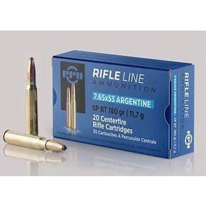PPU Rifle Ammunition 7.65mm x 53 Argentine 180 gr SP 2542 fps 20/ct