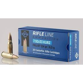 PPU Rifle Ammunition 7.92mm x 33 Kurz 124 gr FMJ 2160 fps 20/ct