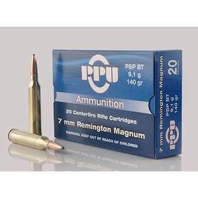 PPU Rifle Ammunition 7mm Rem Mag 140 gr PSP 2600 fps - 20/ct