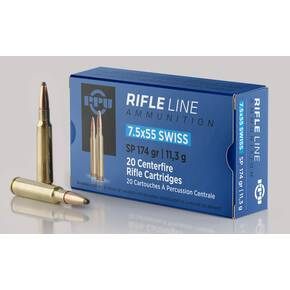 PPU Rifle Ammunition 7.5x55mm Swiss 174 gr SP 2525 fps - 20/ct