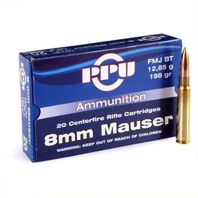 PPU Rifle Ammunition 8mm Mauser 198 gr FMJ 20/Box