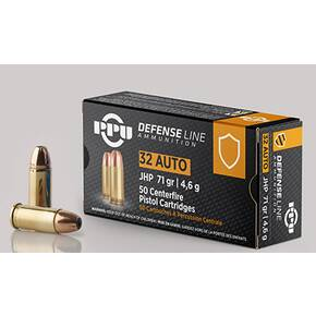 PPU Handgun Ammunition .32 Auto 71 gr JHP 902 fps 50/ct