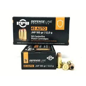 PPU Defense Handgun Ammunition  .45 Acp 185 gr JHP 935 fps 50/ct