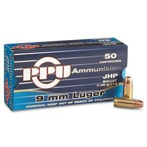 PPU Handgun Ammunition 9mm Luger 115 gr JHP 1145 fps 50/ct