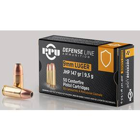PPU Handgun Ammunition 9mm Luger 147gr JHP 990 fps 50/ct
