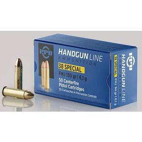 PPU Handgun Ammunition .38 Spl 130 gr FMJ 902 fps 50/ct