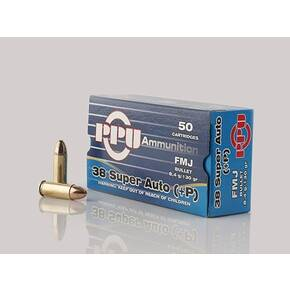 PPU Handgun Ammunition .38 Super Auto+P 130 gr FMJ 1213 fps 50/ct